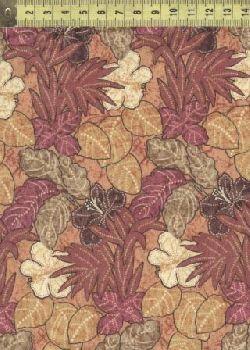 Ашантэ листья и цветы коричневые 0505-1