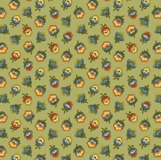 Мелкие сказочные цветы на светло-зеленом 0784-0114