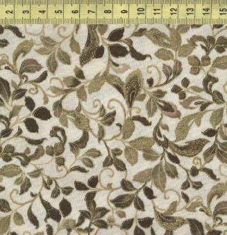 Ла Скала листья с золотом зеленые на бежевом 11429-199