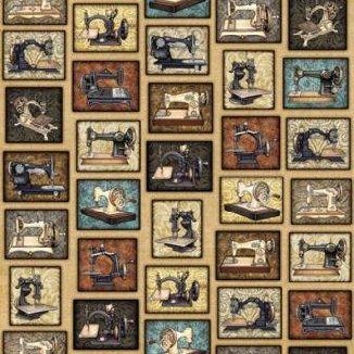 Старые швейные машинки на бежевом 1613-001