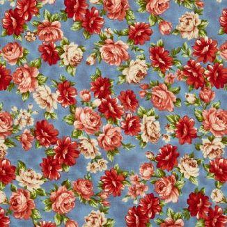Нежные розы на голубом 1831-002