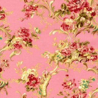 Крупный узор из ветвей роз на розовом 1861-002