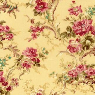 Крупный узор из ветвей роз на желтом 1861-003