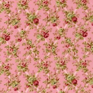 Розы на решетке на розовом фоне 1862-002