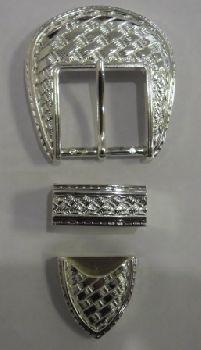 Набор с пряжкой с плетеной текстурой серебро 1991-03