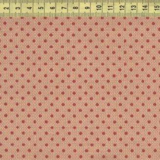 Красный горох на очень мелком розовом ромбе 30204-01