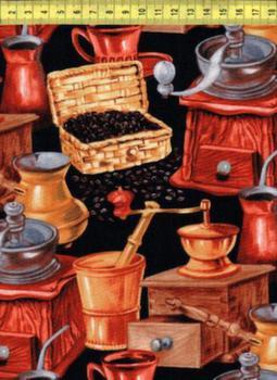 Кофе и кофемолки на черном 6573 black