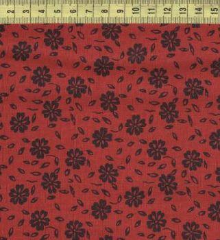 Черные цветы на красном 7643-213