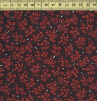 Красные букетики на черном 7644-213