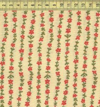 Мелкие красные цветы на желтом полосы 512-21
