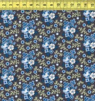 Сине-голубые цветочки на темно-сером 0209-0150