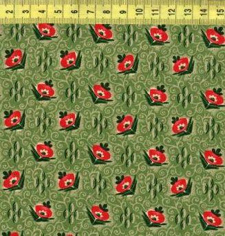 Красные цветы на зеленых ромбах 4158-0116