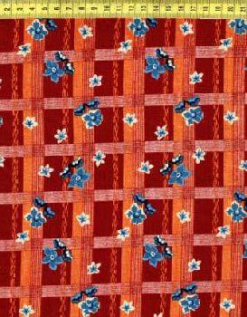 Синие цветы на бордовой клетке N645-004
