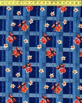 Красно-желтые цветы на синей клетке N645-005