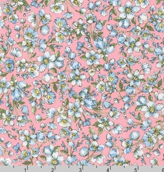 Нежно голубые цветочки на розовом фоне